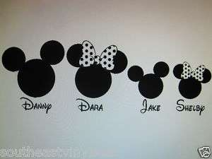 MIckey Minnie personalized family figure decal sticker