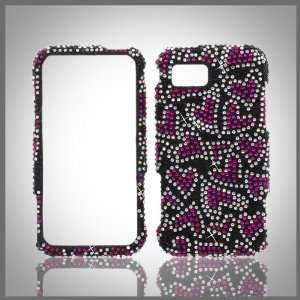 Pink Hearts on Black Cristalina crystal bling case cover