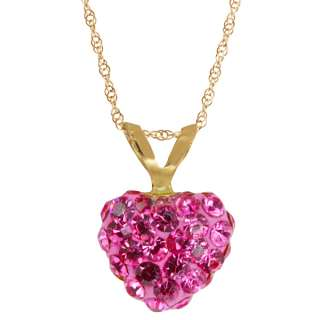 Beautiful 10K Yellow Gold Rose Crystal Puff Heart Shape Pendant With