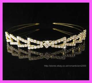 Gold Wedding/Bridal crystal veil tiara headband CR103