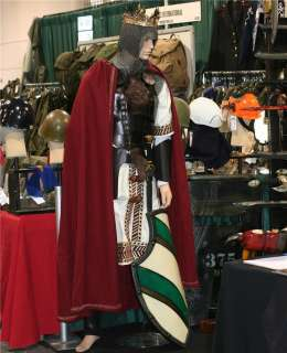 MEDIEVAL KING Black Leather ARMOR TUNIC CAPE Set LARP