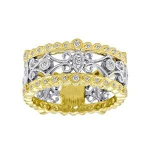 Meira T 14K Yellow Gold Diamond Antique Style Floral Right Hand Ring