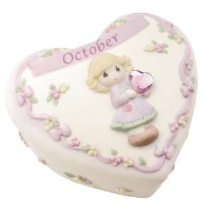 Precious Moments Birthday Heart Covered Box   October