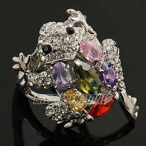 18K White Gold Plated CZ Frog Ring #8 11721