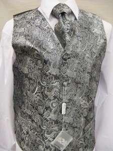 Mens Suit Tuxedo Dress Vest Necktie Bowtie Hanky Set Silver Paisley