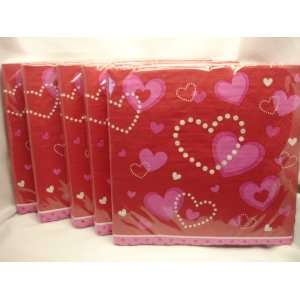 Holiday Inspirations Heart Pink & Red Valentine Napkins