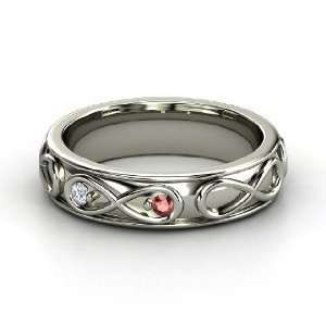 Infinite Love Ring, 14K White Gold Ring with Red Garnet