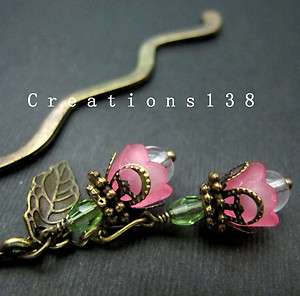 Pink Lucite Flower Glass Beaded Metal Bookmark Christmas Gift