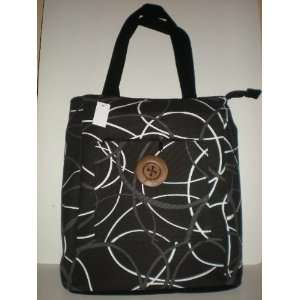 Tote bag canvas (black w charcoal and white circles
