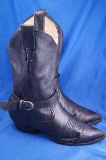 Larry Mahan Black Leather Western Boots Mens 9.5 D