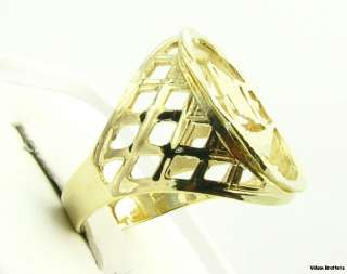 Large Mens NIKE Fashion Ring   10k Solid Yellow Gold Diamond Cut