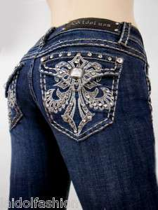 Women LA Idol Skinny Jeans Crystal Fleur De Lis Jewel Flap Pocket
