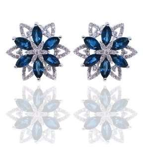 18 KT WHITE GOLD MARQUE SAPPHIRES AND DIAMOND EARRINGS