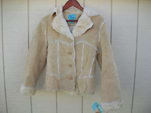 Womens/Ladies NWT B. lucid Beige Soft Suede Leather Jacket Size S