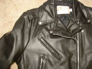1970s Vtg EXCELLED Black Leather Motorcycle Jacket 14