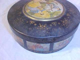 Antique Vintage Cookie Tin ATLANTIC CAN N.J. Love Scene