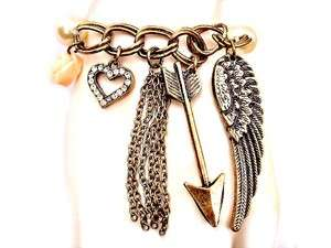 Rose Love HEART Angel WING Feather PEARL Charm BRACELET