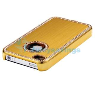 NEW Gold Luxury Diamante Bling Crystal CASE COVER For Apple iPhone 4