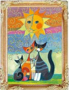 MODERN CATS Dollhouse Picture Miniature Framed Art