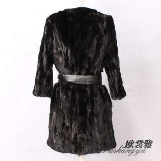 TOP new womens black genuine real mink fur long warm coat jacket all