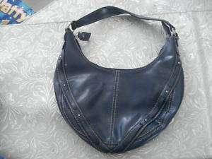 Liz Claiborne NAVY BLUE Leather Like studded Handbag |