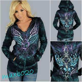 Free shiping Guardian Lion Angel Wings Hoodie NWT Affliction Sevill