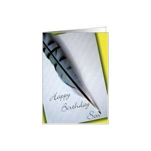 Happy Birthday Son Blue Jay Feather Card: Toys & Games