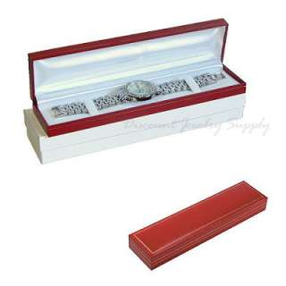Leatherette Bracelet or Watch Long Gift Box   Red