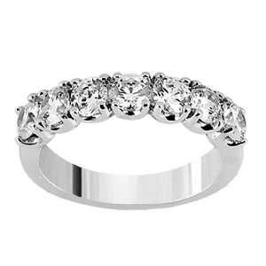 Diamond Anniversary Wedding Ring in 14k White Gold   Size 8 Jewelry