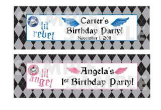 lil REBEL lil ANGEL skull 1st BIRTHDAY PARTY water bottle label