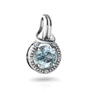 14K White Gold Round Genuine Aquamarine Love Knot Pendant Jewelry
