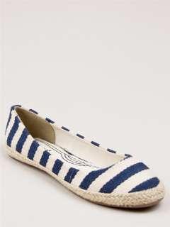 NEW BAMBOO Women Casual Stripe Slip On Espadrille Flat Shoe blue sz