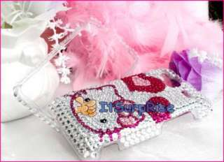 Bling Diamond Hearts Kitty Hard Case Cover For HTC EVO Shift 4G Phone