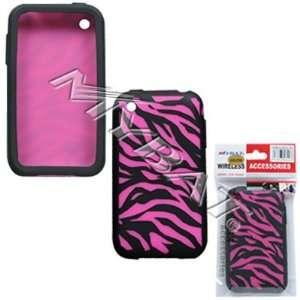 iphone 3G Laser Zebra Skin(Hot Pink/ Black) Skin Case
