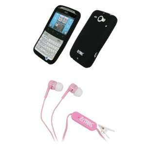EMPIRE Black Silicone Skin Case Cover + Pink Stereo Hands Free