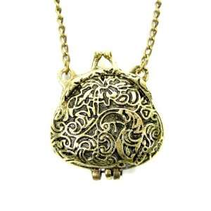 Antique Change Satchel Bag Pouch Gold Tone Locket Pendant Retro Indie