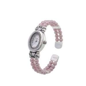 Geneva Platinum Pink Faux Pearl Bangle Fashion Watch Jewelry