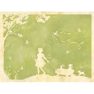 Toile Girl Pulling Wagon Wall Art 40x30 by Oopsy Daisy
