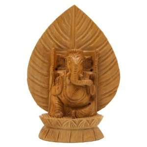 Hand Carved Wood Ganesha Statue, 6 Inches High