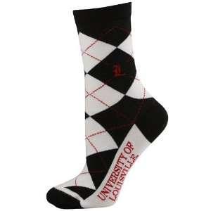 NCAA Louisville Cardinals Ladies White Black Argyle Socks