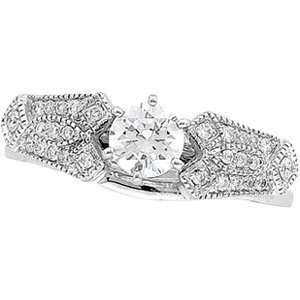 14K White Gold Diamond Bridal Enhancer Ring Size 6.0 Jewelry