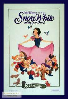 SNOW WHITE 50th Ann Disney Orig 1sheet Poster