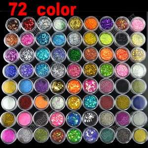 Colorful 72 Pots Nail Art 6 Kinds of Glitter Decoration Powder Crush