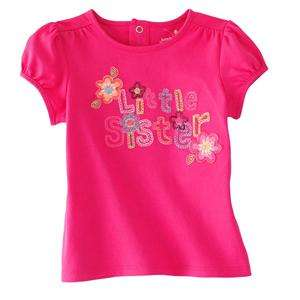 NEW Jumping Beans Toddler Girl Pink Shirt Flowers Little Sister 2, 3
