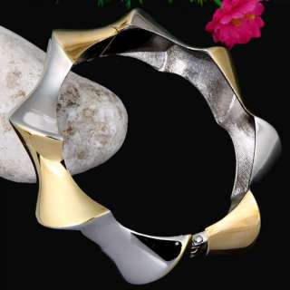 Silver & Gold Plated Open ended Polygon Bangle Bracelet W/ Spring Fine