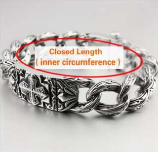 Various Lengths Cool 316L Stainless Steel Cross Mens Bracelet 5C016
