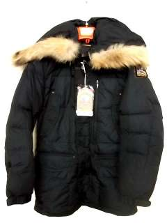 PARAJUMPERS HARRASEEKET DOWN JACKET NAVY BLUE REAL FUR AUTHENTIC MENS