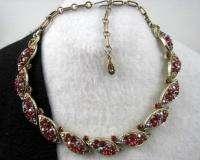 Vintage LISNER Red & Aurora Borealis Rhinestone Cast Leaf Necklace