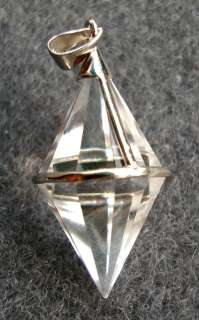 Rock Crystal Faceted BiCone Silver Gilt Pendant