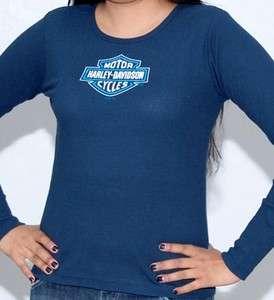 Harley Davidson Ladies Shine Logo Navy Blue Long Sleeve Thermal T